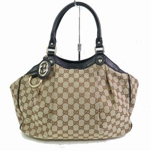 Auth Gucci Sukey Hand Bag Brown Canvas #1481G31